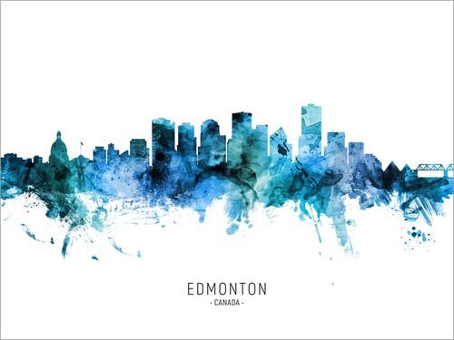 Edmonton Canada Skyline Cityscape Poster Art Print
