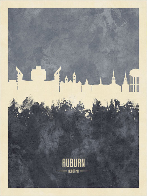 Auburn Alabama Skyline Cityscape Poster Art Print