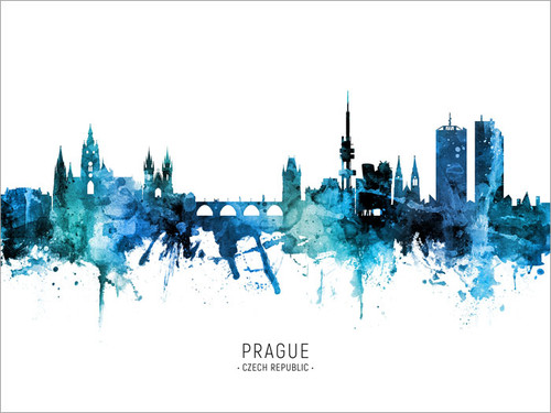 Prague Czech Republic Skyline Cityscape Poster Art Print