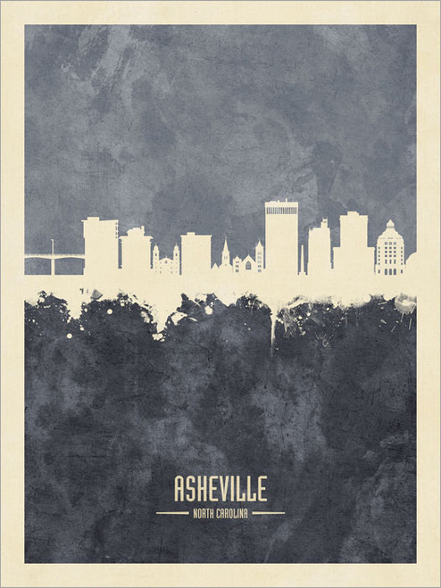 Asheville North Carolina Skyline Cityscape Poster Art Print