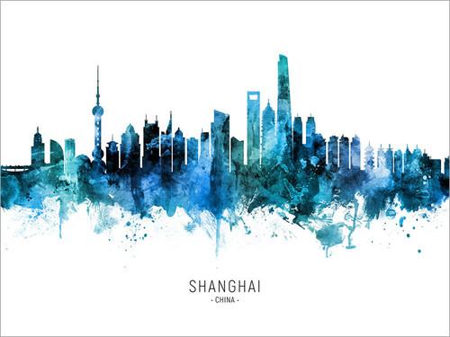 Shanghai China Skyline Cityscape Poster Art Print