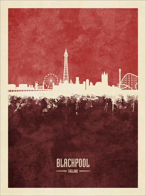 Blackpool England Skyline Cityscape Poster Art Print