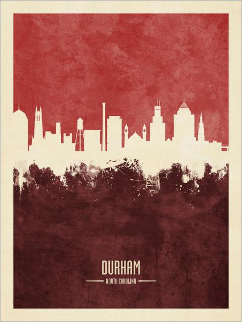Durham North Carolina Skyline Cityscape Poster Art Print
