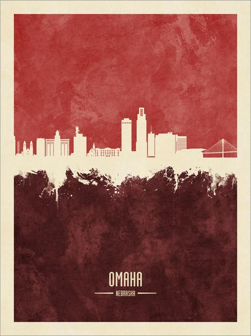 Omaha Nebraska Skyline Cityscape Poster Art Print