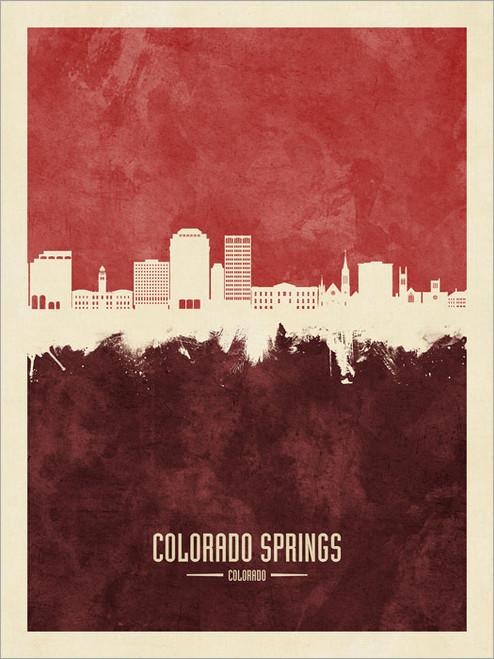 Colorado Springs Colorado Skyline Cityscape Poster Art Print