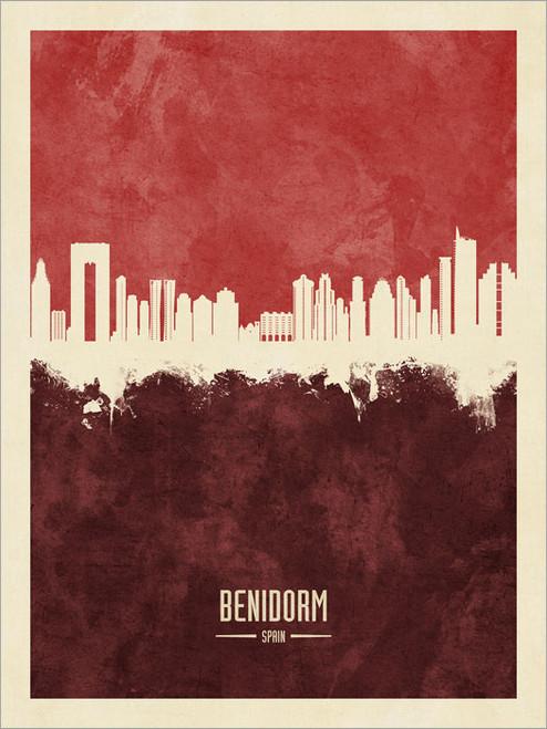 Benidorm Spain Skyline Cityscape Poster Art Print