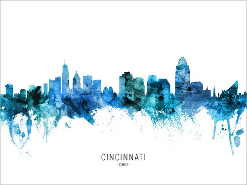 Cincinnati Ohio Skyline Cityscape Poster Art Print