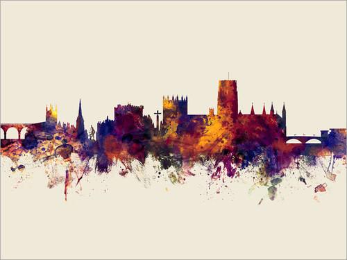Durham England Skyline Cityscape Poster Art Print