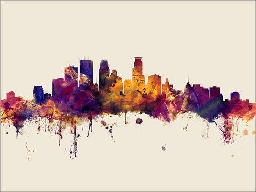 Minneapolis Minnesota Skyline Cityscape Poster Art Print