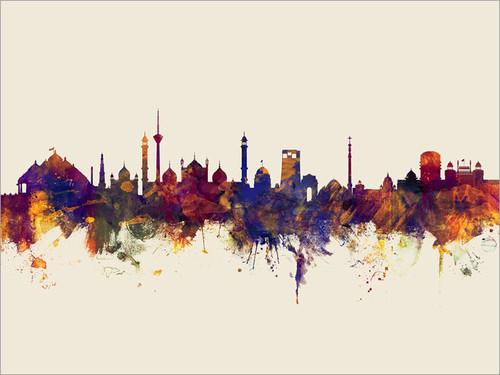 New Delhi India Skyline Cityscape Poster Art Print