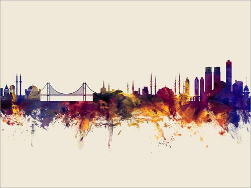Istanbul Turkey Skyline Cityscape Poster Art Print