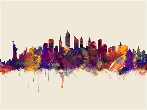 New York New York Skyline Cityscape Poster Art Print