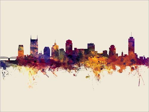 Nashville Tennessee Skyline Cityscape Poster Art Print