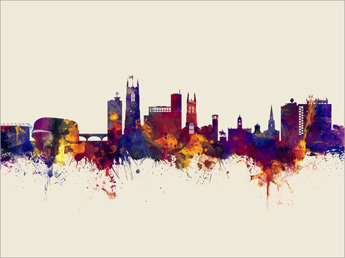 Derby England Skyline Cityscape Poster Art Print