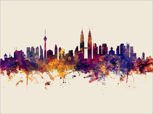 Kuala Lumpur Malaysia Skyline Cityscape Poster Art Print