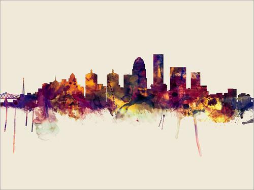 Louisville Kentucky Skyline Cityscape Poster Art Print