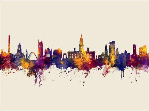 Bolton England Skyline Cityscape Poster Art Print