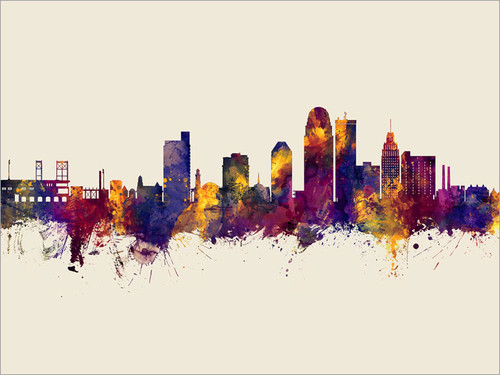 Winston-Salem North Carolina Skyline Cityscape Poster Art Print