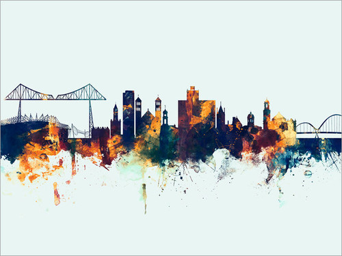Middlesbrough England Skyline Cityscape Poster Art Print