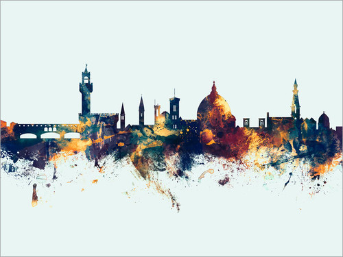 Florence Italy Skyline Cityscape Poster Art Print