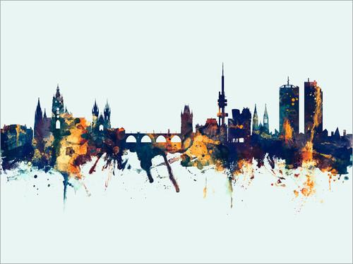 Prague Czech Republic Skyline Cityscape Poster Art Print