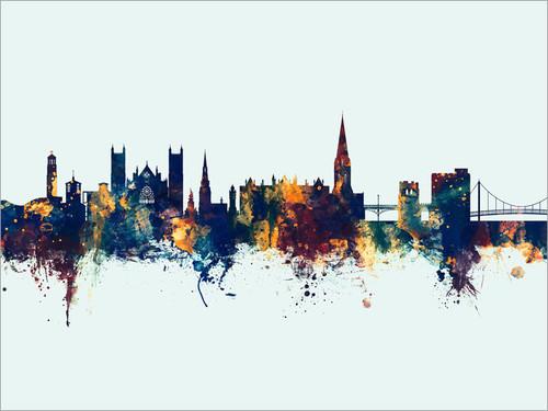 Exeter England Skyline Cityscape Poster Art Print