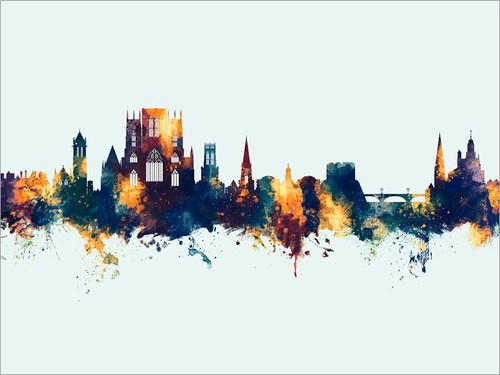 York England Skyline Cityscape Poster Art Print
