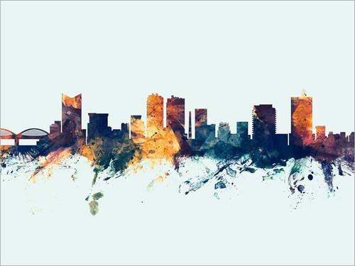 Fort Worth Texas Skyline Cityscape Poster Art Print