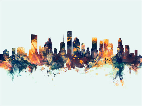 Houston Texas Skyline Cityscape Poster Art Print