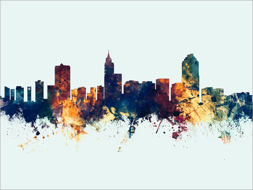 Raleigh North Carolina Skyline Cityscape Poster Art Print