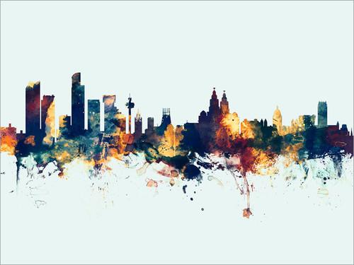 Liverpool England Skyline Cityscape Poster Art Print