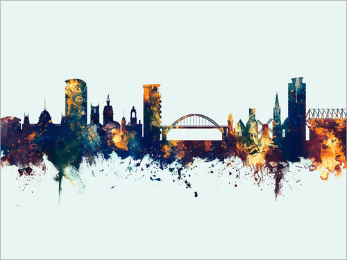 Sunderland England Skyline Cityscape Poster Art Print