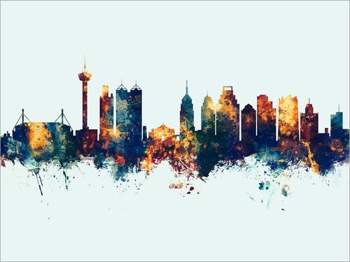 San Antonio Texas Skyline Cityscape Poster Art Print