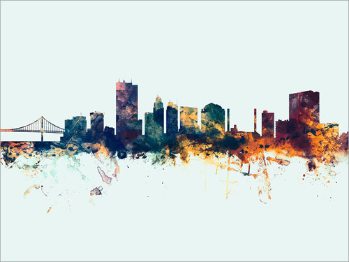Toledo Ohio Skyline Cityscape Poster Art Print