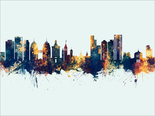 Oakland California Skyline Cityscape Poster Art Print