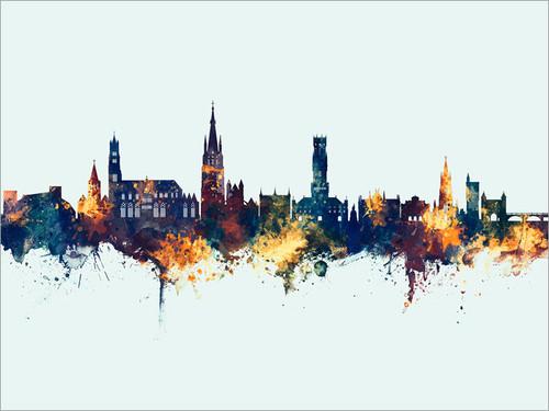 Bruges Belgium Skyline Cityscape Poster Art Print