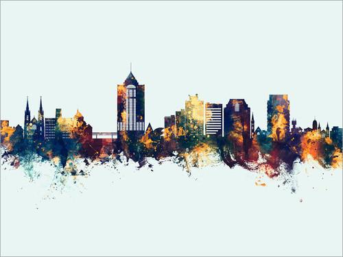 Roanoke Virginia Skyline Cityscape Poster Art Print