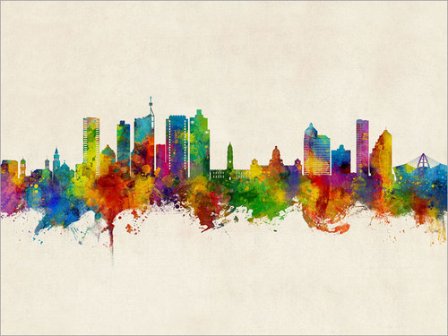 Durban South Africa Skyline Cityscape Poster Art Print