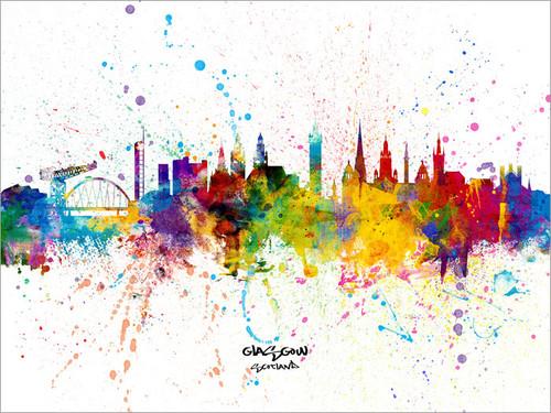 Glasgow Scotland Skyline Cityscape Poster Art Print