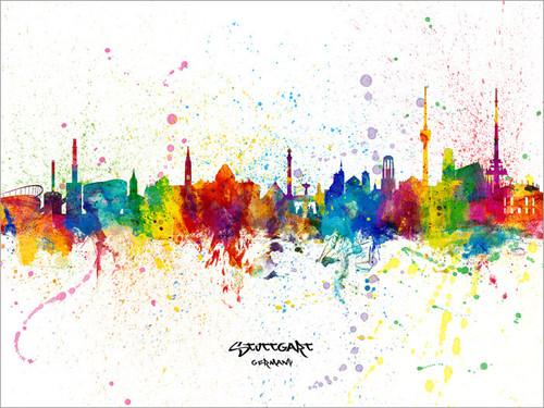 Stuttgart Germany Skyline Cityscape Poster Art Print