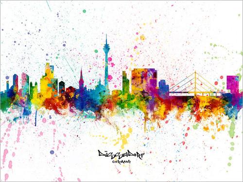Düsseldorf Germany Skyline Cityscape Poster Art Print