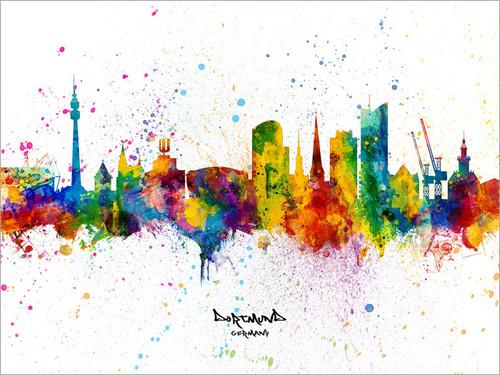 Dortmund Germany Skyline Cityscape Poster Art Print
