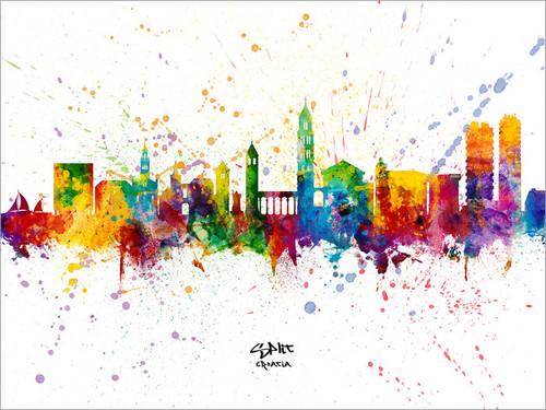 Split Croatia Skyline Cityscape Poster Art Print