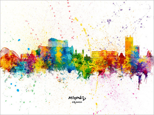 Athens Greece Skyline Cityscape Poster Art Print