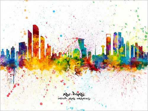 Abu Dhabi United Arab Emirates Skyline Cityscape Poster Art Print