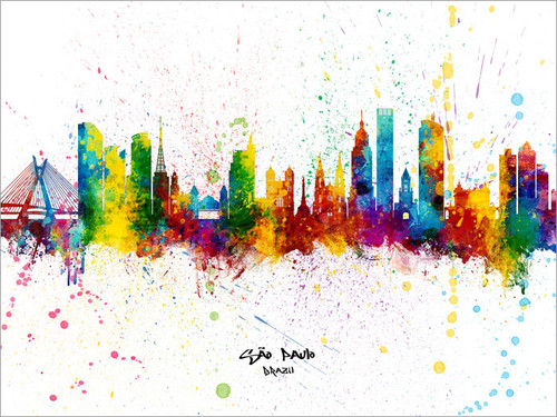 São Paulo Brazil Skyline Cityscape Poster Art Print