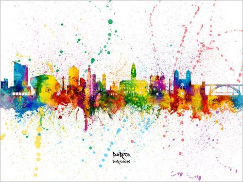 Porto Portugal Skyline Cityscape Poster Art Print