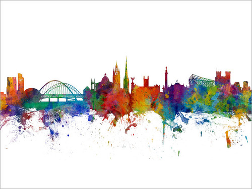 Newcastle England Skyline Cityscape Poster Art Print