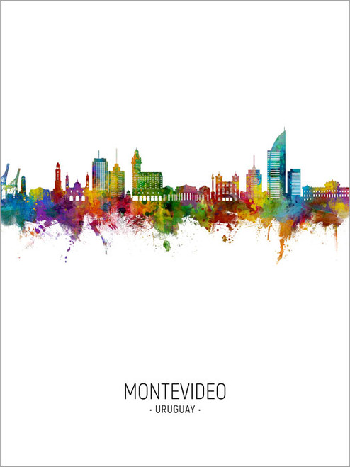 Montevideo Uruguay Skyline Cityscape Poster Art Print