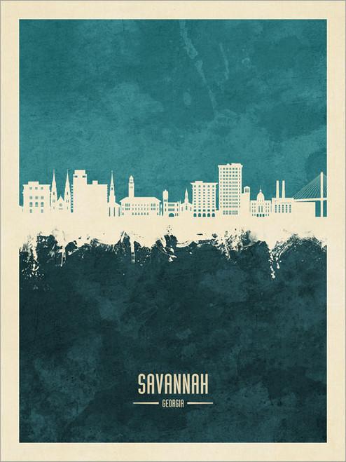 Savannah Georgia Skyline Cityscape Poster Art Print